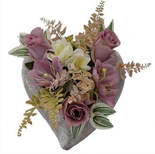 Arnažmán Srdce s ružami ružový