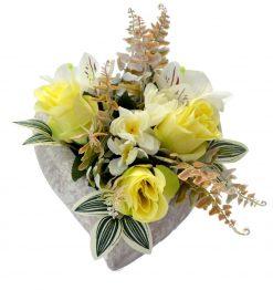Arnažmán Srdce s ružami žltý
