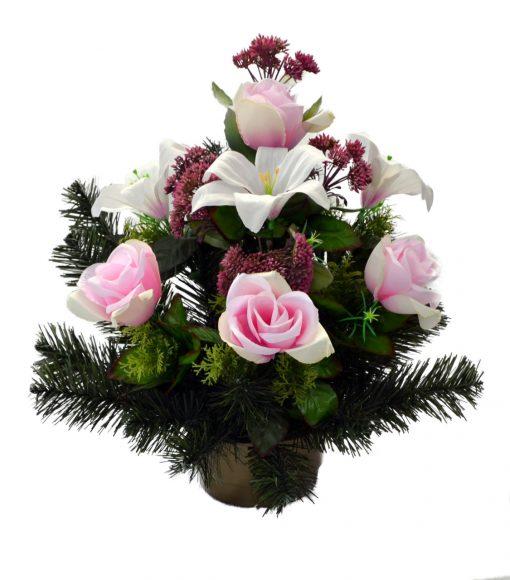 Aranžmán Ruža a sedum ružový