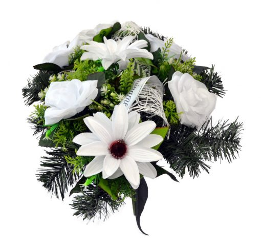 Aranžmán Ruža a dália biely