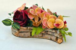 Aranžmán Srdce s orchideou oranžovobordový