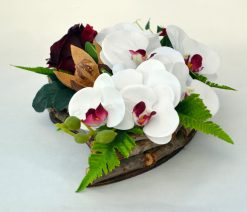 Aranžmán Srdce s orchideou biely