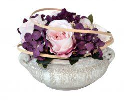 Aranžmán Miska ruže a hortenzia ružovo-fialový