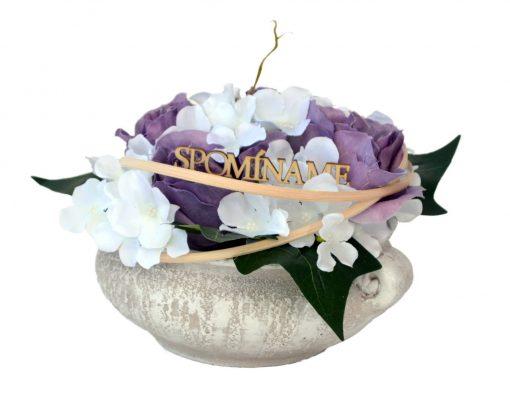 Aranžmán Miska ruže a hortenzia fialovo-biely