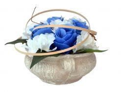 Aranžmán Miska ruže a hortenzia modro-biely