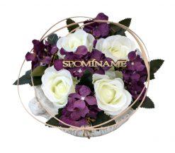 Aranžmán Miska ruže a hortenzia bielo-fialový