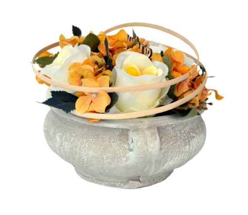 Aranžmán Miska ruže a hortenzia žlto-žltý
