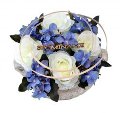 Aranžmán Miska ruže a hortenzia bielo-modrý