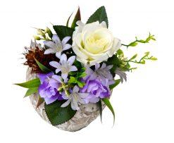 Aranžmán Srdce bielo-fialové so šiškou 14*14cm 0,6kg