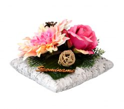 Aranžmán Dáhlia s ružami a so suš. doplnkami 21*21cm 1,1kg ružový