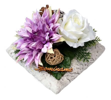 Aranžmán Dáhlia s ružami a so suš. doplnkami 21*21cm 1,1kg fialovo-biely
