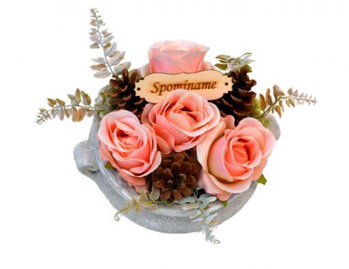 Aranžmán Spomíname 4 ruže a šišky Ø25cm 0,7kg ružový